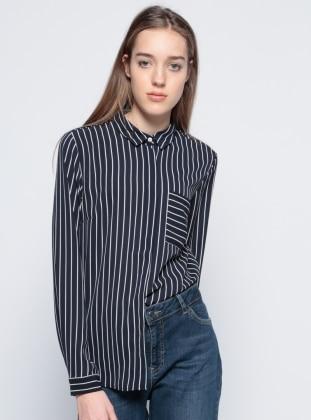 Çizgili Gömlek - Siyah Koton
