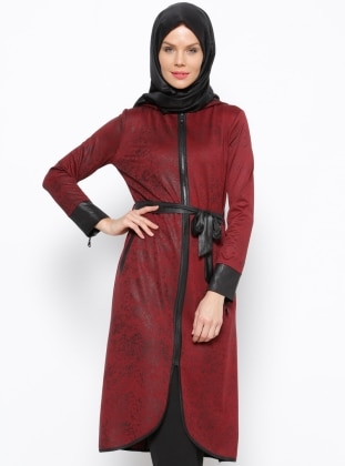 Fermuarlı Tunik- Bordo