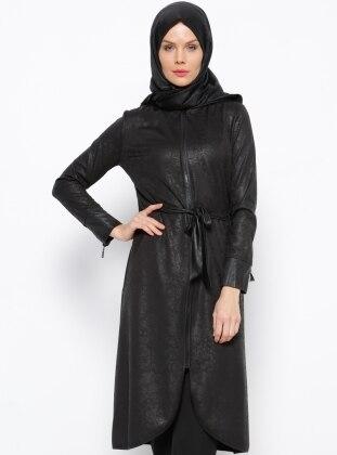 Fermuarlı Tunik - Siyah