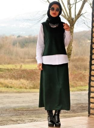 Kolsuz Bluz&Etek İkili Takım - Yeşil