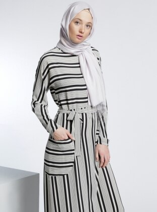 Çizgili Elbise - Siyah