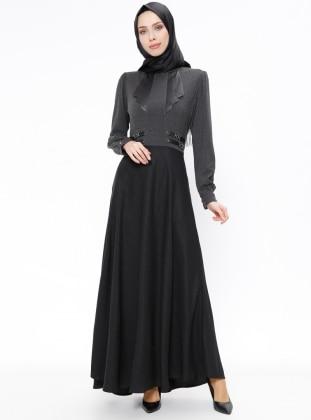 Black - Crew neck - Fully Lined - Dresses - Esswaap 267612