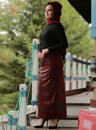 Gizem Kış Lotus Ceket&Etek İkili Takım - Siyah Bordo