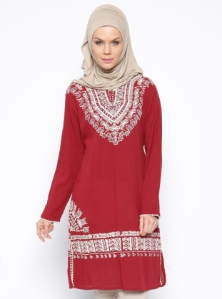 V neck Collar - Multi - Maroon - Cotton - Tunic