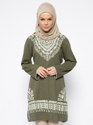 V neck Collar - Multi - Khaki - Cotton - Tunic