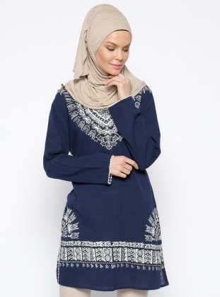 V neck Collar - Multi - Navy Blue - Cotton - Tunic
