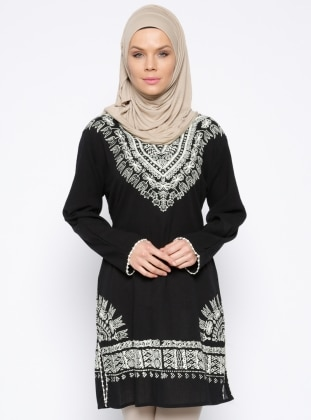 V neck Collar - Multi - Black - Cotton - Tunic