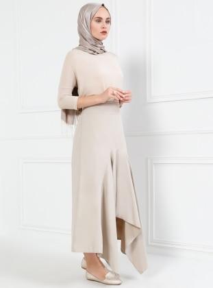 Beige - Half Lined - Skirt - Refka