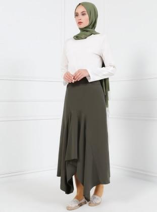 Khaki - Half Lined - Skirt - Refka