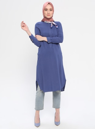 Blue - Button Collar - Viscose - Tunic