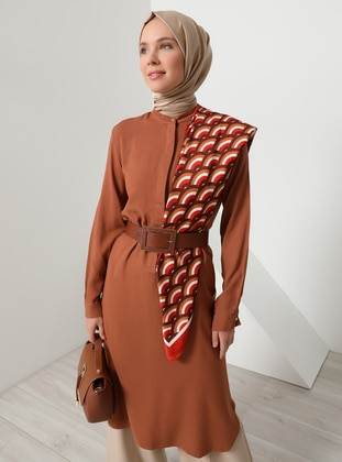 Viscose - Button Collar - Tan - Tunic