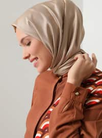 Viscose - Button Collar - Tan - Tunic