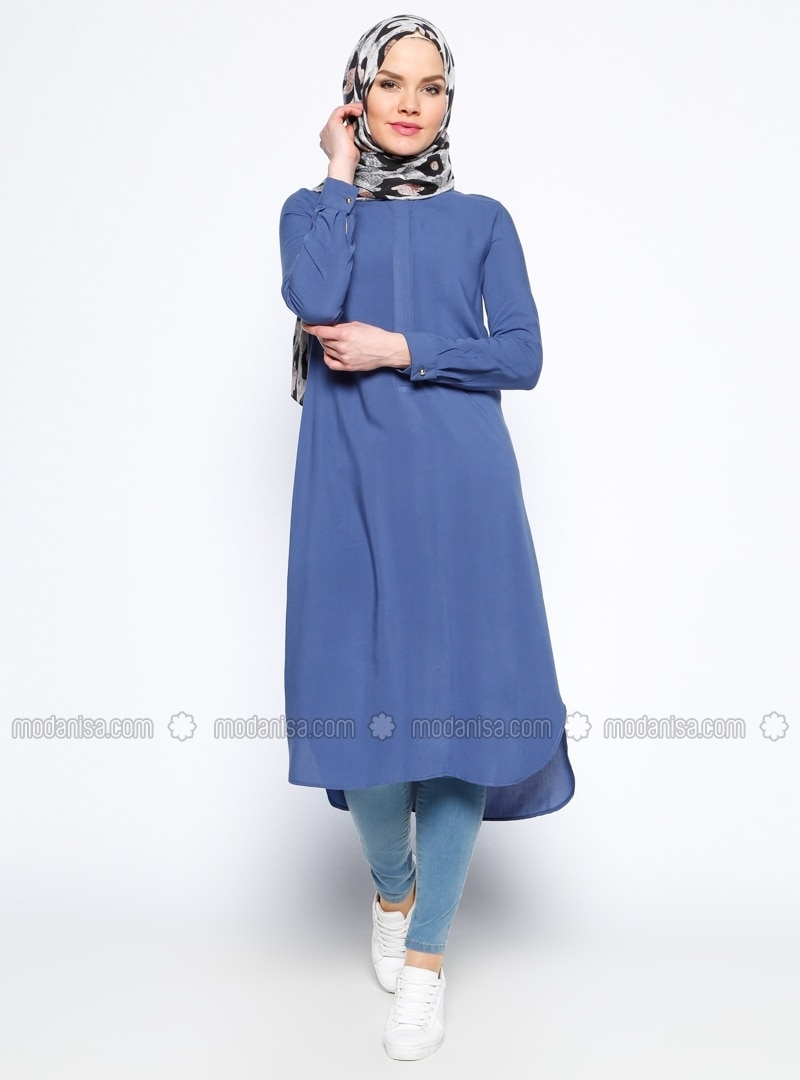 Blue - Button Collar - Viscose - Tunic
