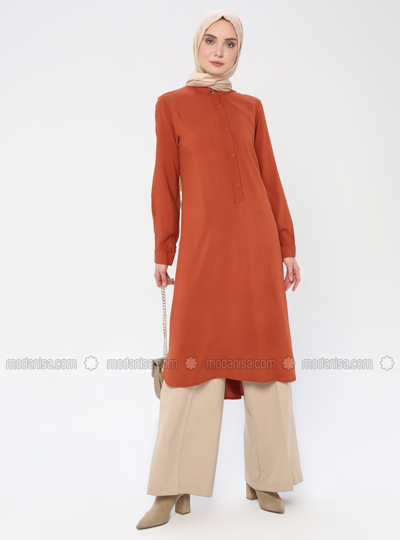 Tan - Button Collar - Viscose - Tunic