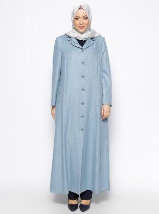 Düğmeli Pardesü - Mavi