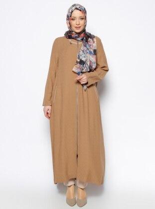 Fermuarlı Pardesü - Camel