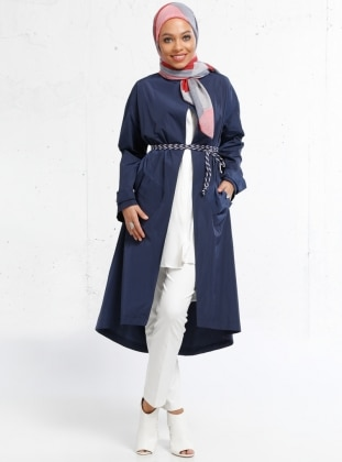 Navy Blue - Unlined - Polo neck - Trench Coat - Refka