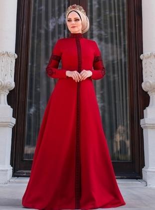 Müslima Wear Mehendi Elbise - Kırmızı