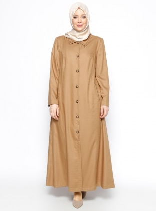 Düğmeli Pardesü - Camel