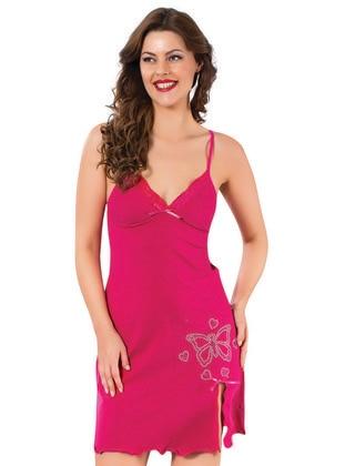 Pink - Cotton - V neck Collar - Nightdress