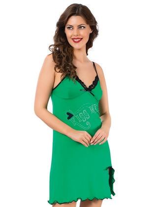 Green - V neck Collar - Nightdress