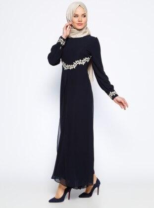 Güpür Detaylı Abiye Elbise - Lacivert BÜRÜN