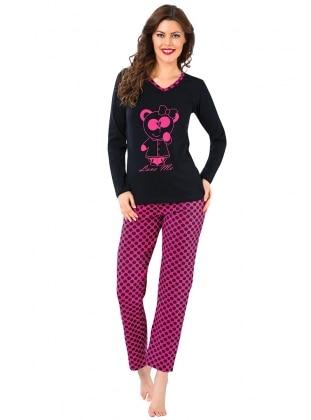 Pijama - Siyah Fuşya