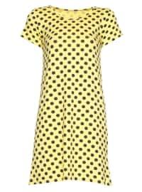 Yellow - Polka Dot - Crew neck - Nightdress