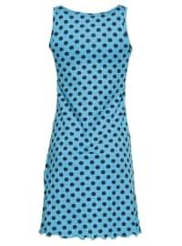 Blue - Polka Dot - Crew neck - Nightdress