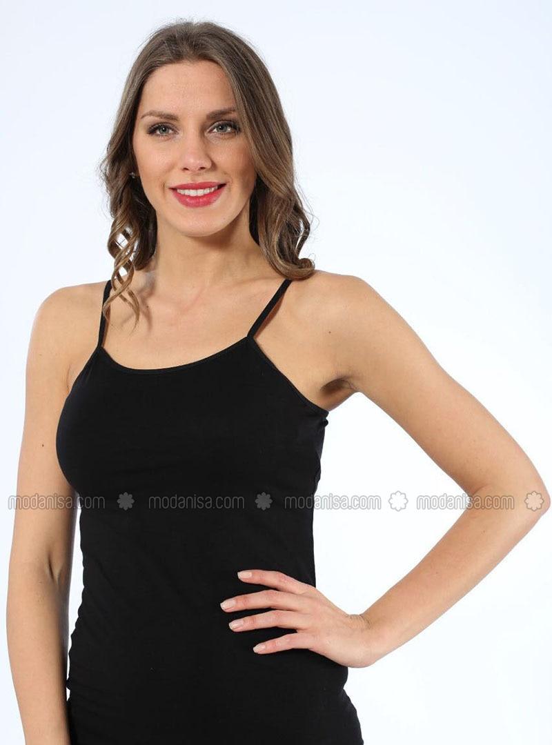 Black - Cotton - Undershirt