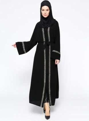 Taşlı Abaya - Siyah