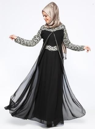 Güpürlü Abiye Elbise - Siyah BÜRÜN