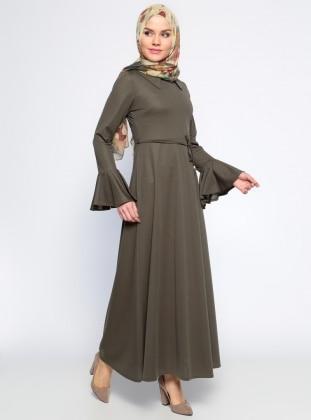 Kolları Volan Detaylı Elbise - Haki