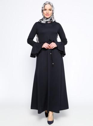 Kolları Volan Detaylı Elbise - Lacivert