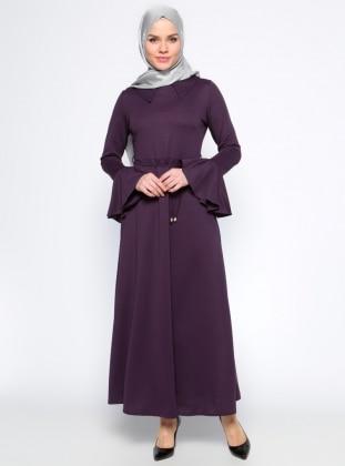 Kolları Volan Detaylı Elbise - Mor