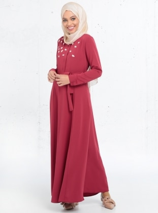 Nakış İşlemeli Elbise - Bordo