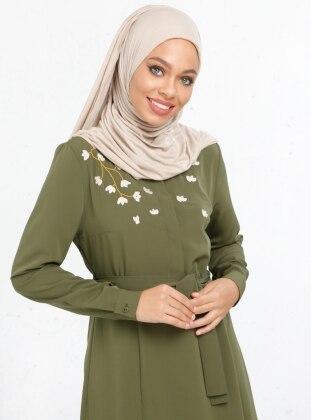 Nakış İşlemeli Elbise - Haki