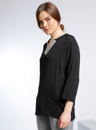 V Yaka Bluz - Siyah adL