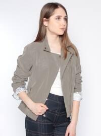 Fermuarlı Ceket - Gri - Koton