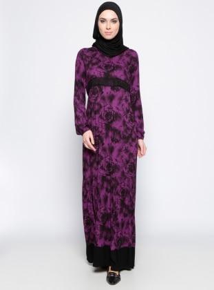 Dantel Detaylı Elbise - Mor Siyah Ginezza