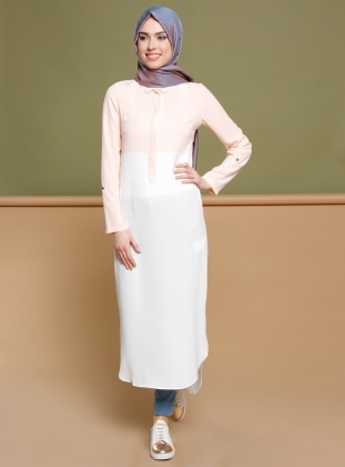 Ecru - Powder - Point Collar - Tunic - Puane 270178