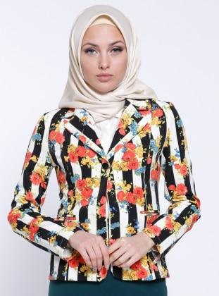 Şal Yaka Ceket - Siyah-Beyaz- Çiçekli