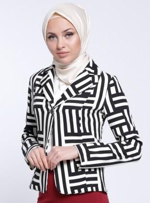 Şal Yaka Ceket - Siyah Beyaz