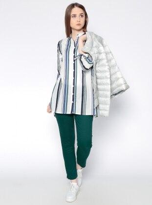 Yandan Fermuarlı Pantolon - Koyu Yeşil Koton