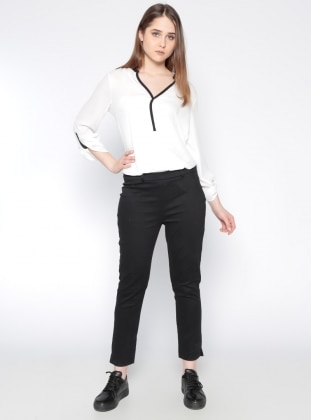 Yandan Fermuarlı Pantolon - Siyah Koton