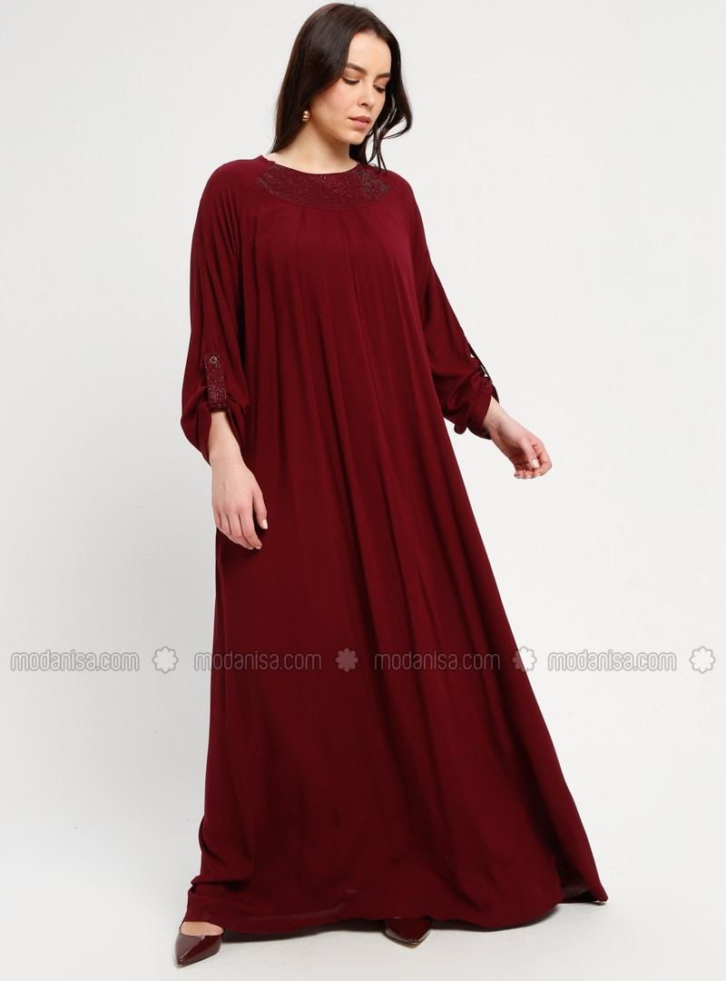 Maroon - Unlined - Crew neck - Plus Size Dress - BAGİZA