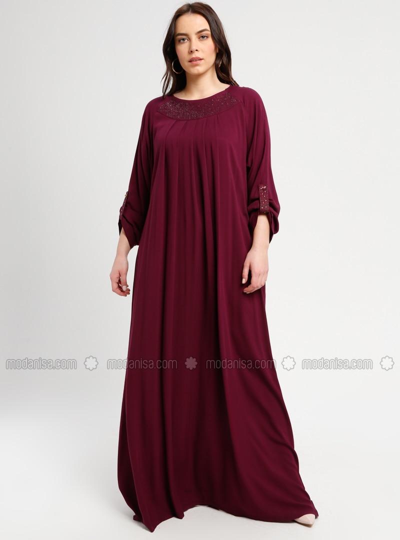 Purple - Maroon - Unlined - Crew neck - Plus Size Dress - BAGİZA