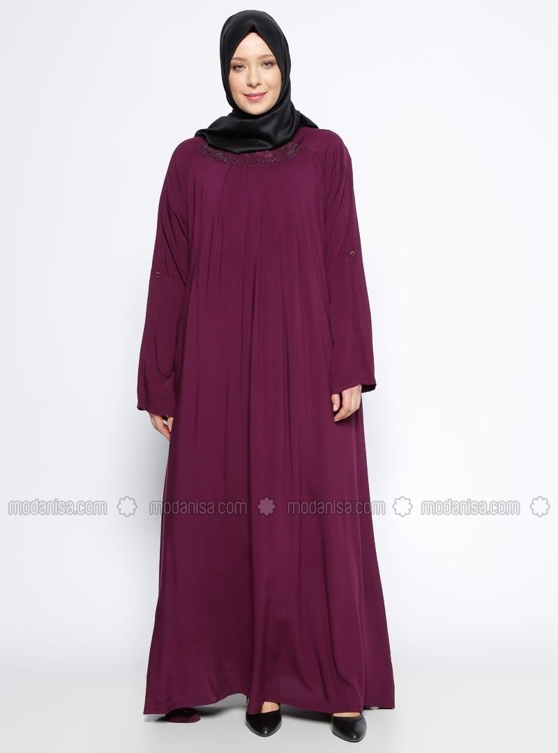Purple - Maroon - Unlined - Crew neck - Plus Size Dress