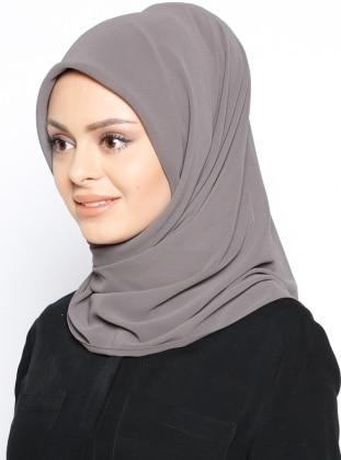Gray - Plain - Crepe - Scarf - Mısırlı