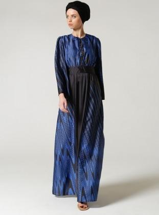 Desenli Elbise - Mavi Siyah